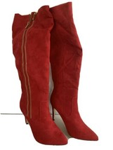 "Sunita by Signature Red Faux Suede double-zip knee boots 4"" Heel - €24,36 EUR"