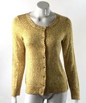 Talbots Cardigan Sweater Small Yellow Animal Giraffe Print Long Sleeve Womens - $15.83