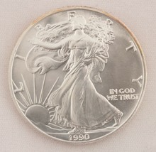 1990 Silver Eagle $1 Coin One Troy Ounce Uncirculated Brilliant - $40.19