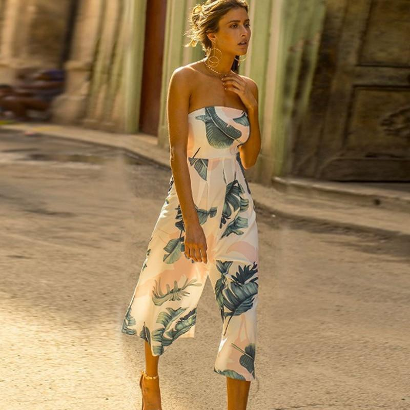 Veless print jumpsuit tube high waist beach style rompers casual sexy backless boot cut overalls