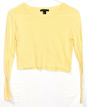Forever 21 Women's Pastel Yellow Long Sleeve Cropped T-Shirt Size M