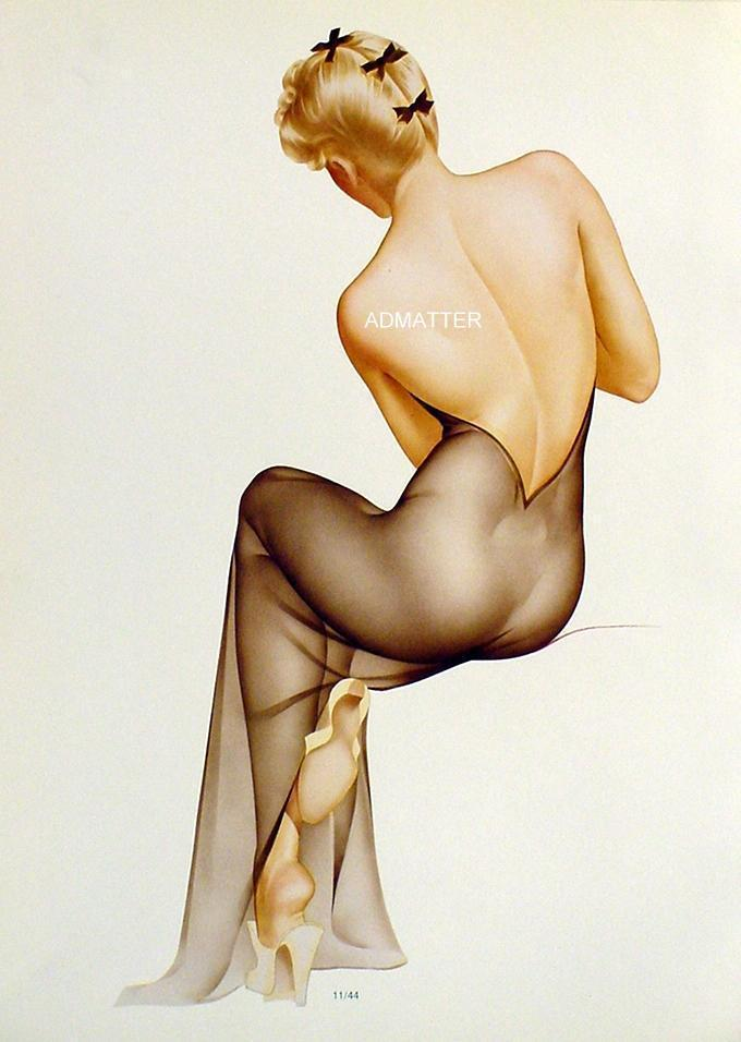 Vargas 1944 Redhead Pinup Girls 9X12 Vintage 2-sided check123