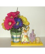 Painted Planter Silk Flower Candle Plush Arrang... - $15.00