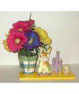 Painted Planter Silk Flower Candle Plush Arrangement Gift 38 - $15.00