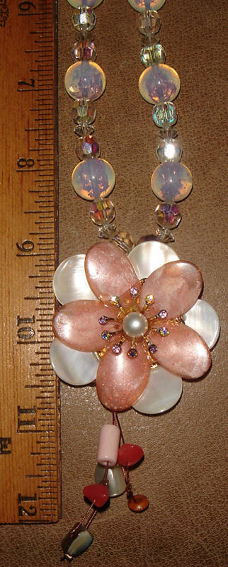 VTG 925 STERLING SILVER OPALITE EARRINGS FLOWER MOTHER OF PEARL NECKLACE SET 2