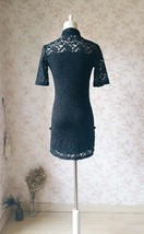 Women Chinese Style Short Sleeve Black Lace Dress Short Black Lace Party Dresses image 2
