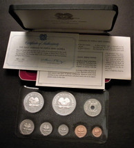 1975 Papua New Guinea 8-Coin Proof Set w 2 Silver Coins Case & COA Frank... - $52.00