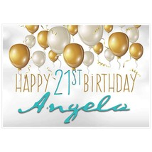 Gold and White Balloons Personalized Birthday Banner Party Decoration – Any Age - $42.08