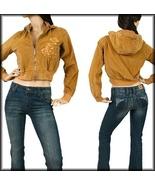 Khaki Jacket Zip Off Hoodie Sleeve Pocket Emb ... - $16.00