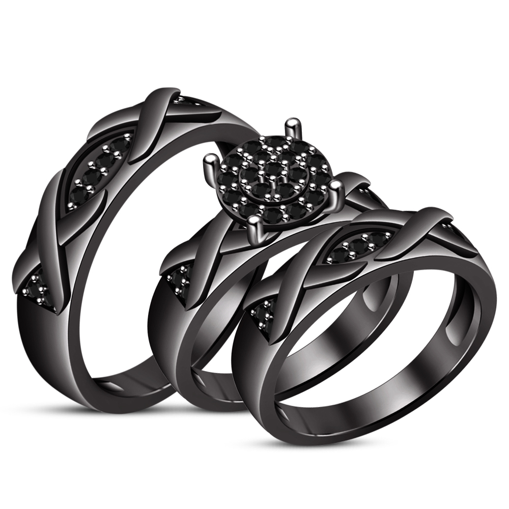 1.10Ct Black Diamond Engagement Bridal Trio Ring Set Band With Black Gold Over