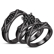 1.10Ct Black Diamond Engagement Bridal Trio Ring Set Band With Black Gol... - $133.29