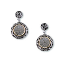 Micro Pave Antique Clear Cubic Zirconia Dangle Earrings - $29.69
