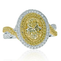 GIA Certified 1.66Ct Oval Yellow Diamond Engagement Infinity Ring 18k Wh... - $3,984.93