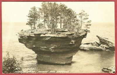 Primary image for Pointe Aux Barque Mi Turnip Rock RPPC Pt Austin BJs