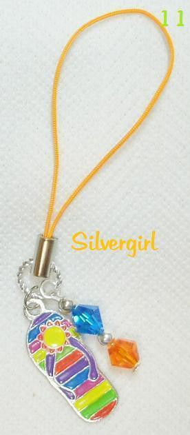Metal Flip Flop Blue Orange Crystal  PDA MP3 Zipper Pull Purse Cell Phone Charm