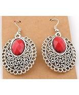 EARRINGS TIBETAN SILVER BLOOD RED BEAD PIERCED #610 - $8.99