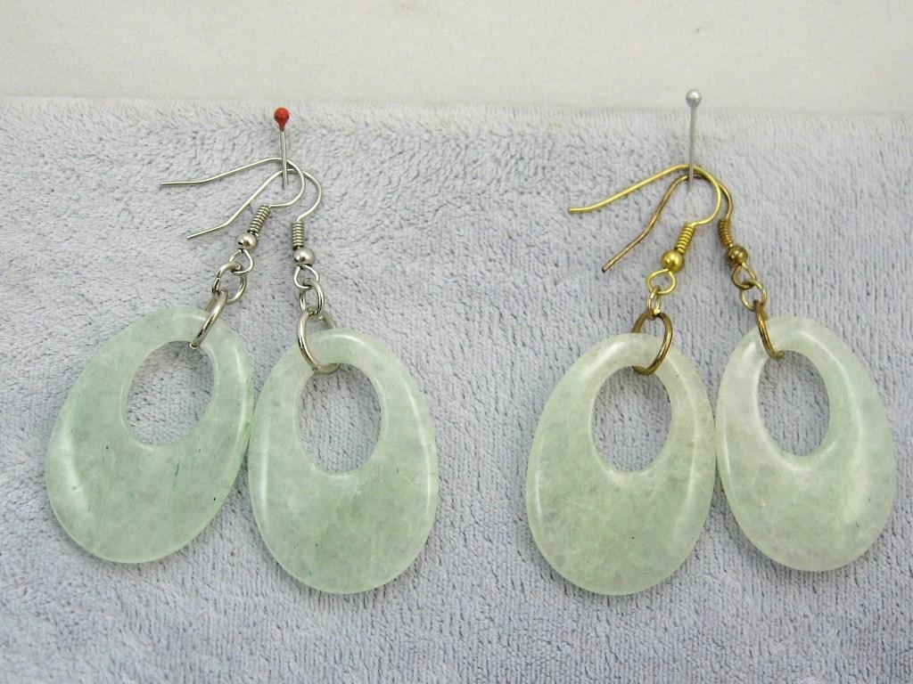 "Handcraft gems Hematite silver gold dangle clip back hoop EARRING 2"""