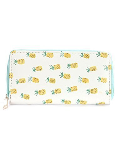 Pineapple Print Zip Around Wallet Clutch Purse