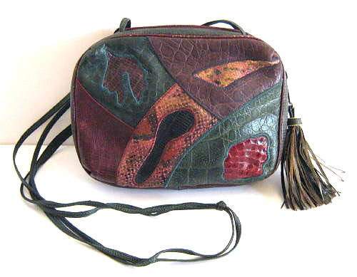 Vintage Sharif Patched Snake & Leather Shoulder Cross Body Bag With Tassel