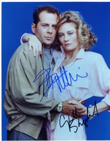 Moonlighting cast signed photo Bruce Willis Cybill Shepherd