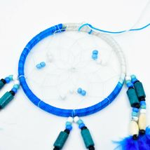 """Handcrafted Miniature 9"""" Blue White Dreamcatcher Plastic & Wood Beads Feathers  image 3"""