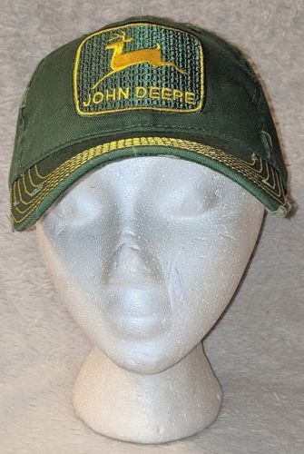 John Deere LP48321 Green And Yellow Adjustable Baseball Cap Worn Look