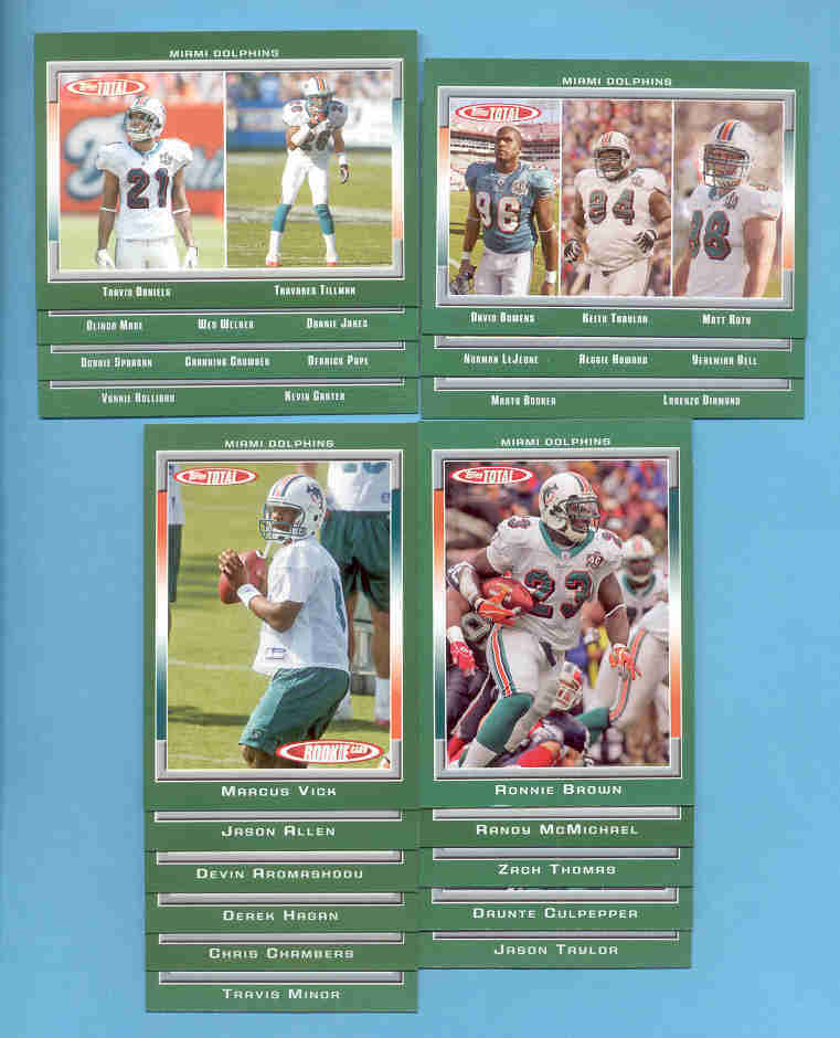 2006 Topps Total Miami Dolphins Football Team Set