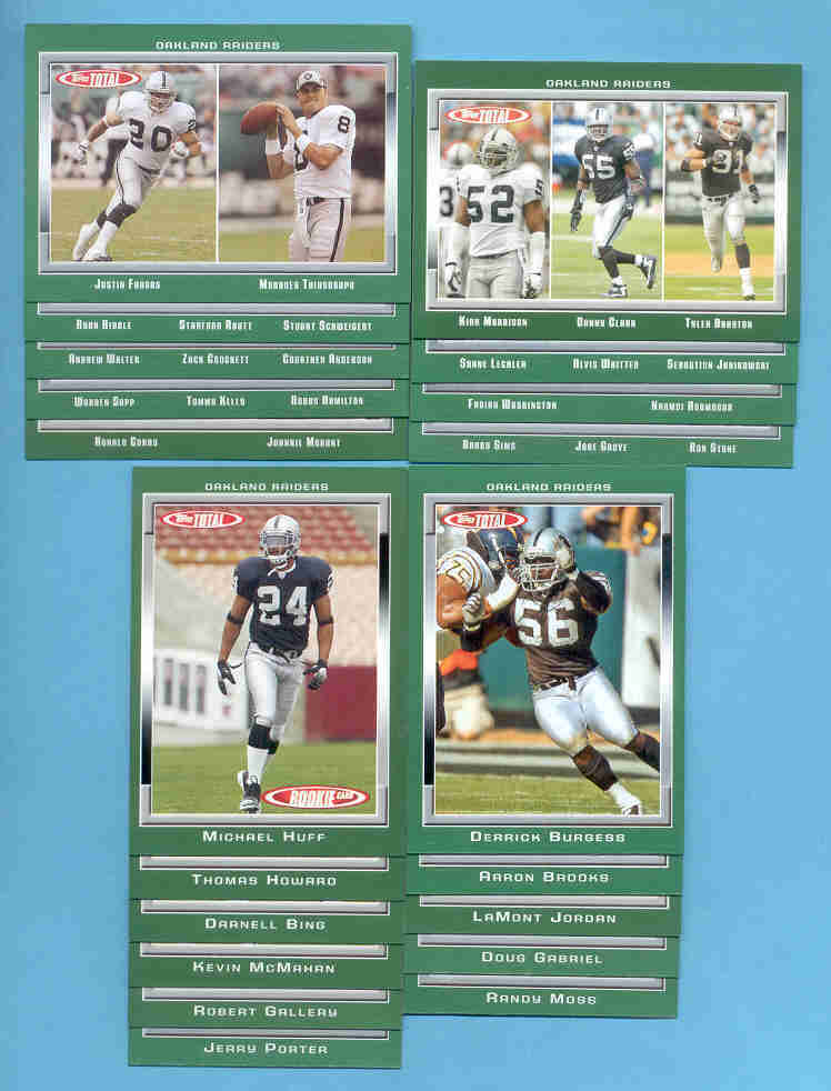2006 Topps Total Oakland Raiders Football Team Set