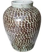 Jar Vase Fish Scale Rusty Brown Ceramic Handmade - $449.00