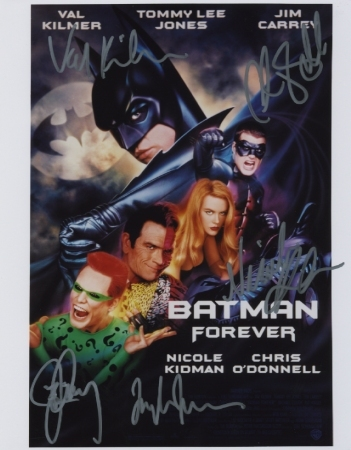 Batman Forever cast signed photo Val Kilmer Jim Carrey Nicole Kidman Tommy Lee