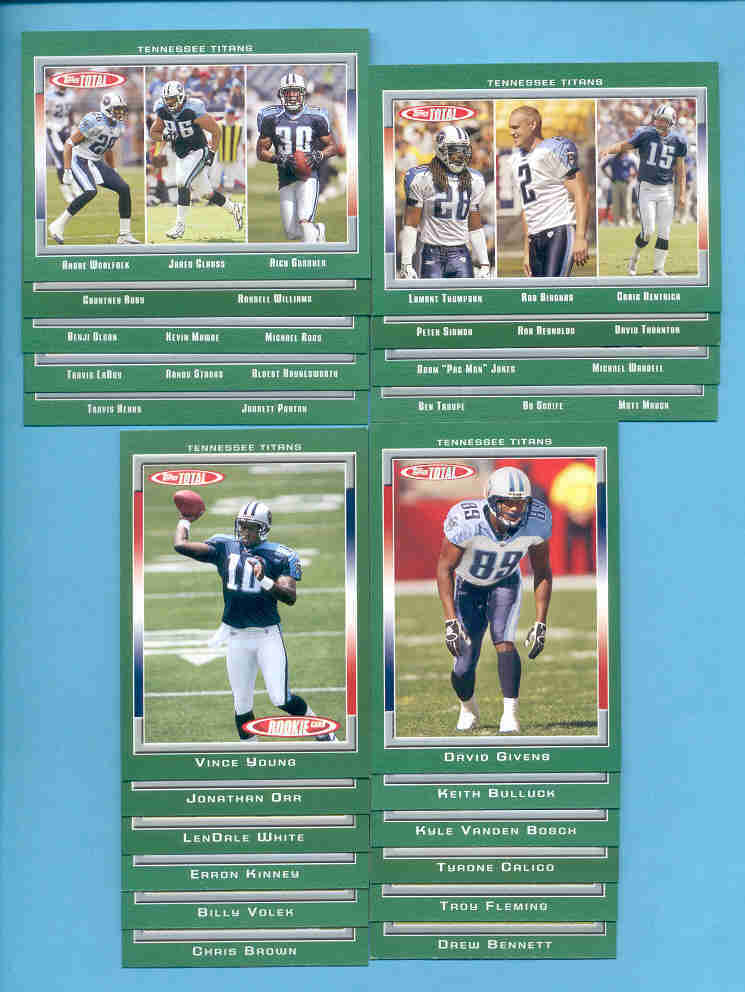 2006 Topps Total Tennessee Titans Football Team Set