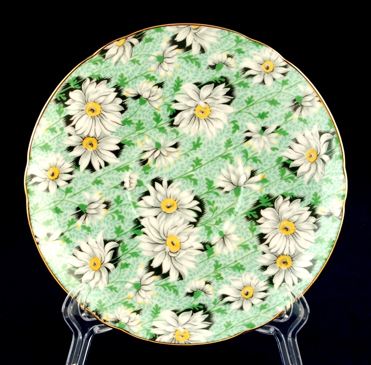 Shelley green daisy saucer