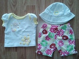 Girl's Size 0-3 M Months 3 Pc White Glitter Bee & Floral Top & Shorts & ... - $14.00