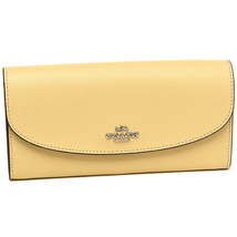 NWT COACH Slim Envelope Large Wallet Zip Coin Bill Leather Vanilla Yello... - $85.14