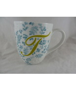 Pier 1 Imports Ava initial monogram T embossed white blue floral coffee ... - $11.87