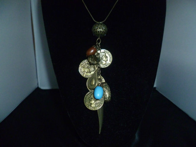 Fantastic Art Necklace with Bronzed Charms. Ethnic style for someone special