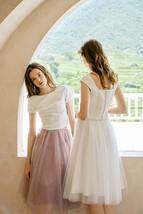 Rose Pink Gray White Tulle Midi Skirt High Waisted Tulle Bridesmaid Midi Skirt image 1