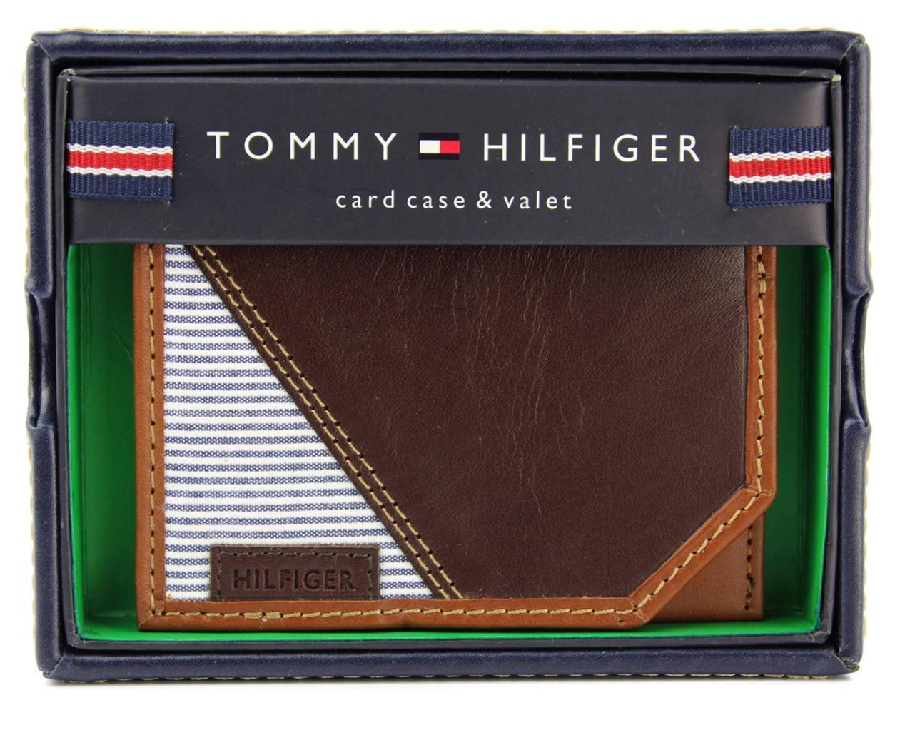 NEW TOMMY HILFIGER MEN'S PREMIUM LEATHER SLIM CARD CASE WALLET BROWN 4268-02