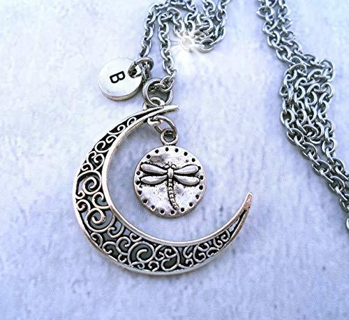 Primary image for Dragonfly Lover Filigree Crescent Moon Necklace with Letter Charm of Your Choice