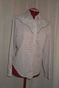 T6 Womens Western Rockabilly Pearly Snap buttons Plaid Shirt Pink Gray 38 bust