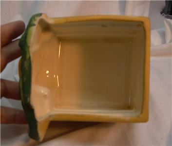g125 Unusual Vintage Pottery Planter Salt Box Happy Pear Face