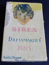 Vintage SIREN Dressmaker's Solid Brass Pins #5 In Original Box - £11.51 GBP