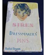 Vintage SIREN Dressmaker's Solid Brass Pins #5 In Original Box - $14.85