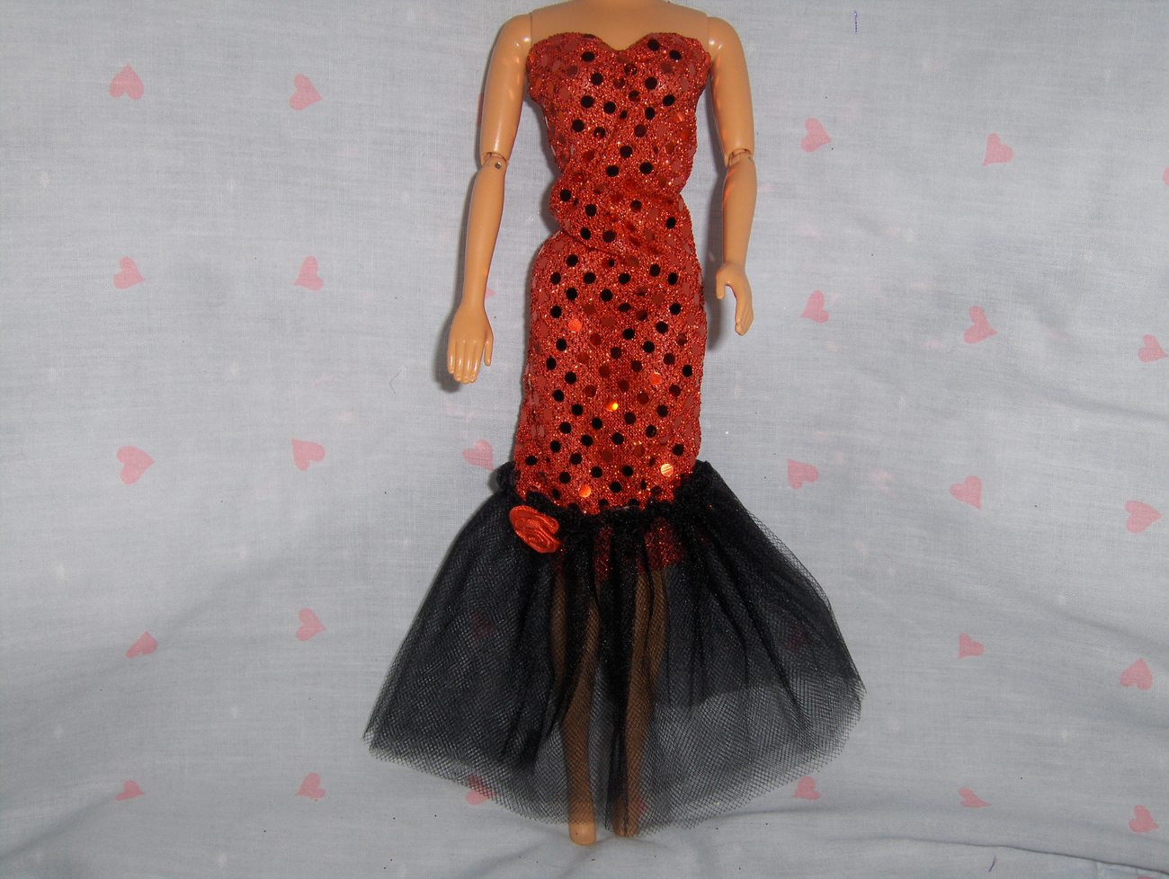 Red Glitter Dot with Black Tulle Gown and Red Rose Accent fits Barbie and most F