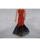 Red Glitter Dot with Black Tulle Gown and Red Rose Accent fits Barbie an... - $5.95