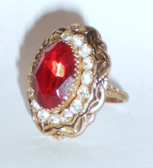Vintage Ruby Red Paste Cocktail Rings