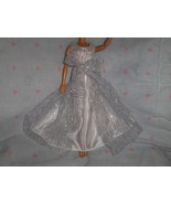 White Satin Gown with White with Silver Glitter Tulle Overlay fits Barbi... - $5.95