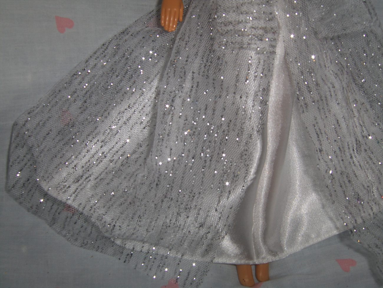 White Satin Gown with White with Silver Glitter Tulle Overlay fits Barbie and mo