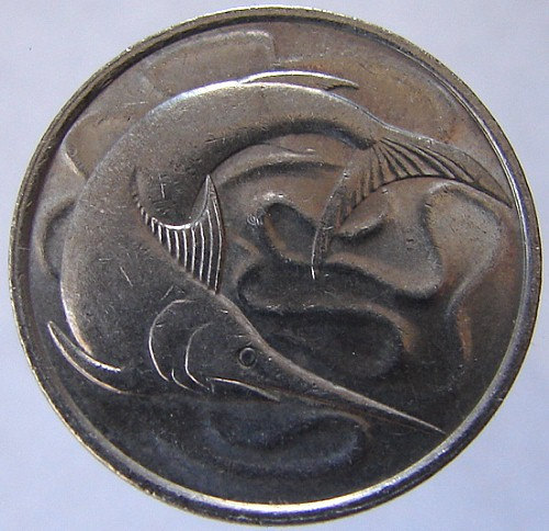 1980 SWORDFISH SINGAPORE COIN Vintage Over 30 Years Old Nautical 20 Cents Copper