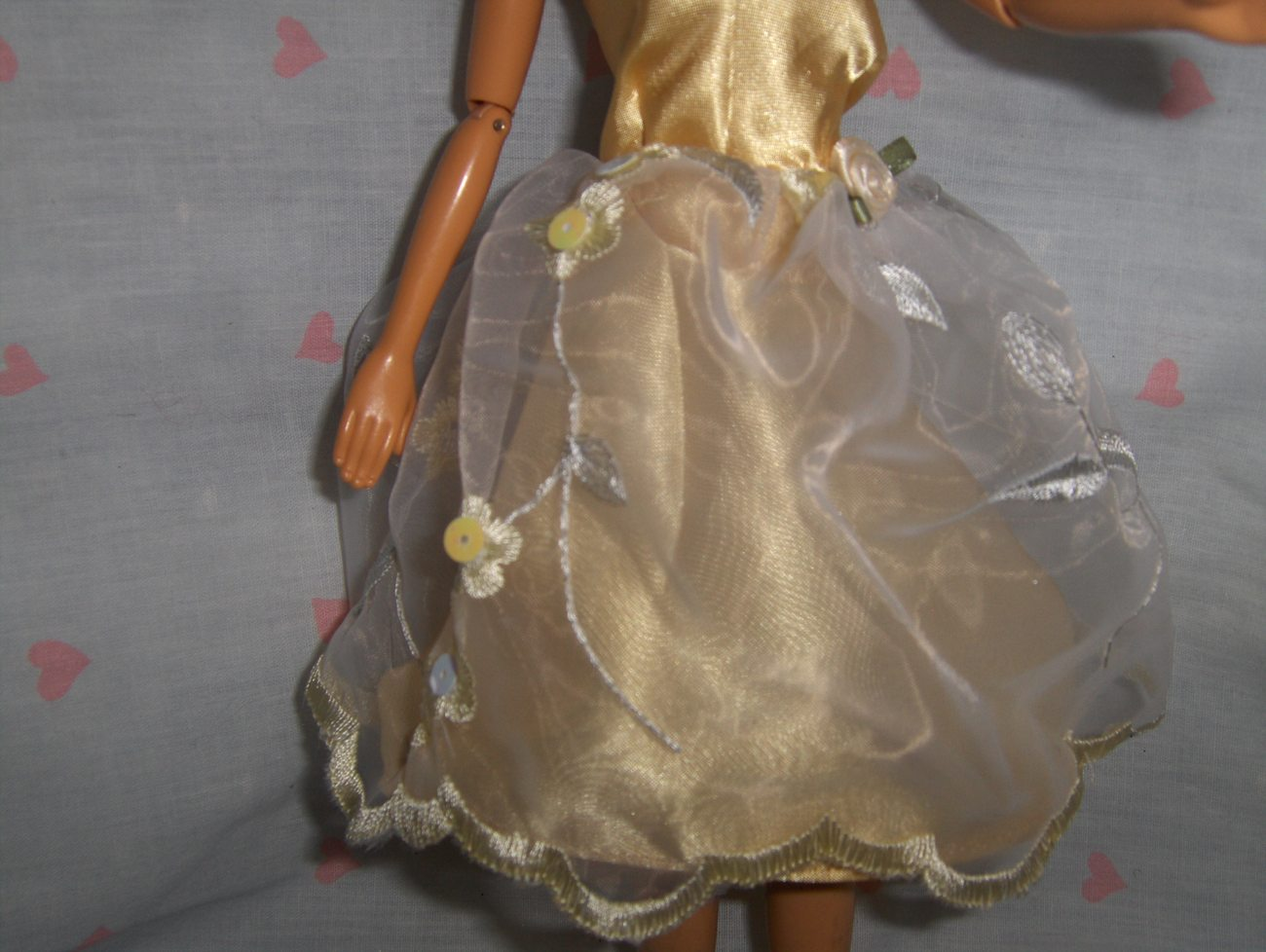 Yellow Satin Prom Dress with White Embroidered Chiffon Overlay fits Barbie and m